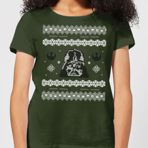 Star Wars Darth Vader Knit Women's Christmas T-Shirt - Forest Green