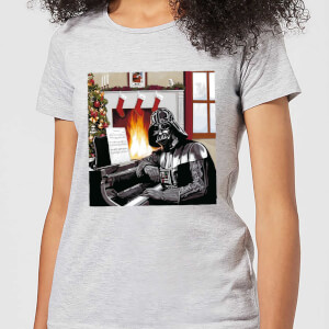 Star Wars Darth Vader Piano Player Women's Christmas T-Shirt - Grey