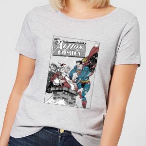 DC Superman Action Comics Damen Christmas T-Shirt - Grau