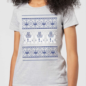 Star Wars R2-D2 Knit Women's Christmas T-Shirt - Grey