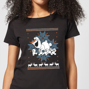 Disney Frozen Olaf and Snowmen Women's Christmas T-Shirt - Black