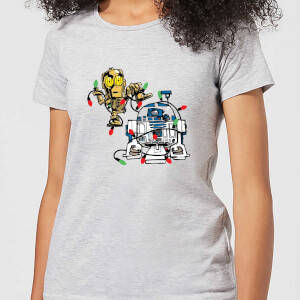 T-Shirt Star Wars Tangled Fairy Lights Droids Christmas- Grigio - Donna