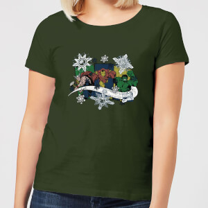 Marvel Thor Iron Man Hulk Snowflake Women's Christmas T-Shirt - Forest Green