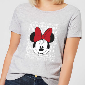 Disney Minnie Face Women's Christmas T-Shirt - Grey