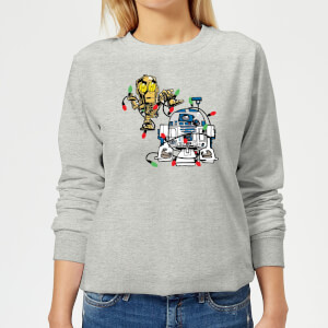 Star Wars Tangled Fairy Lights Droids Women's Christmas Sweater - Grey