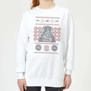 Star Wars Darth Vader Face Knit Women's Christmas Sweatshirt - White