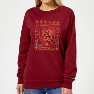 Harry Potter Gryffindor Crest Women's Christmas Sweater - Burgundy