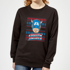 Marvel Captain America Face Women's Christmas Sweatshirt - Black