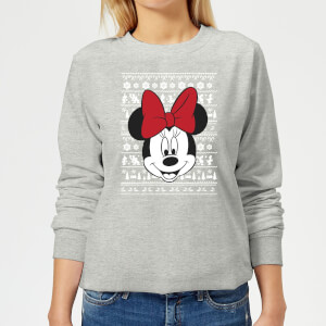 Disney Minnie Face Women's Christmas Sweater - Grey