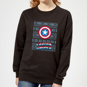 Marvel Captain America Women's Christmas Sweater - Black