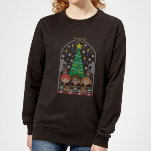 Harry Potter Hogwarts Tree Women's Christmas Sweater - Black