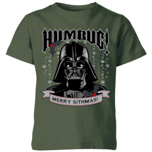 Star Wars Darth Vader Humbug Kids' Christmas T-Shirt - Forest Green