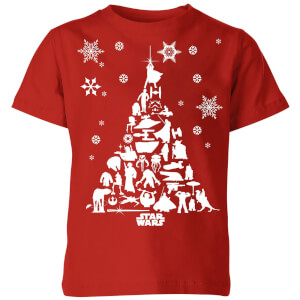 Star Wars Character Christmas Tree Kids' Christmas T-Shirt - Red