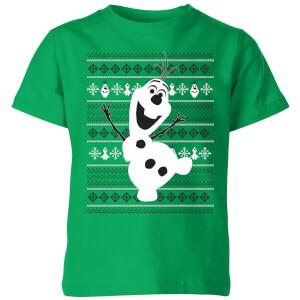 T-Shirt Disney Frozen Olaf Dancing Christmas - Kelly Green - Bambini