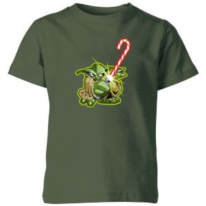Star Wars Candy Cane Yoda Kids' Christmas T-Shirt - Forest Green