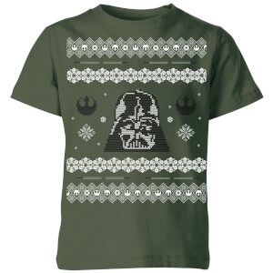 Star Wars Darth Vader Knit Kids' Christmas T-Shirt - Forest Green