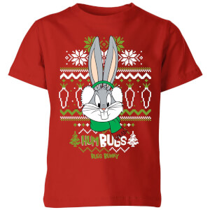 Looney Tunes Bugs Bunny Knit Kids' Christmas T-Shirt - Red
