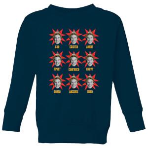 Elf Faces Kids' Christmas Sweatshirt - Navy