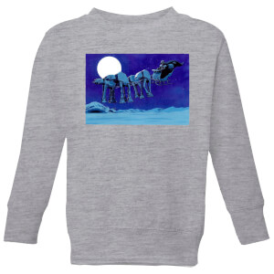 Star Wars AT-AT Darth Vader Sleigh Kids' Christmas Sweatshirt - Grey