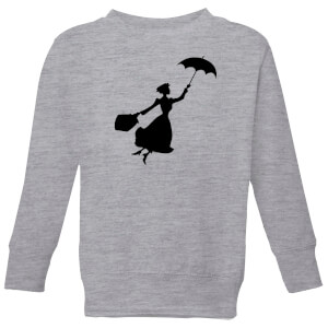 Mary Poppins Flying Silhouette Kinder Weihnachtspullover - Grau