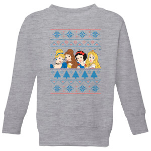Disney Princess Faces Kids' Christmas Sweater - Grey