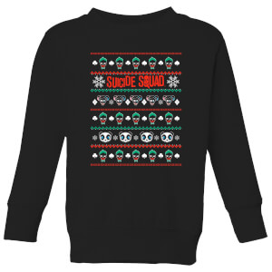 DC Suicide Squad Knit Pattern Kids' Christmas Sweatshirt - Black