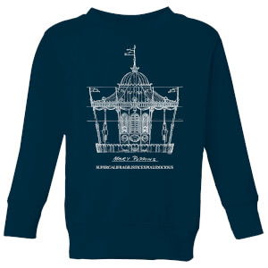 Mary Poppins Carousel Sketch Kids' Christmas Sweatshirt - Navy