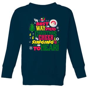 Elf Christmas Cheer Kids' Christmas Sweatshirt - Navy