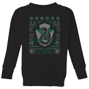 Harry Potter Slytherin Crest Kids' Christmas Sweatshirt - Black