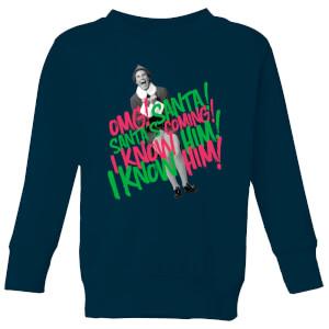 Elf Santa! I Know Him! Kids' Christmas Sweatshirt - Navy