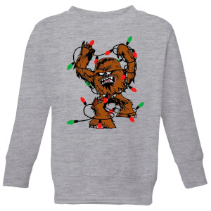 Star Wars Tangled Fairy Lights Chewbacca Kids' Christmas Sweatshirt - Grey