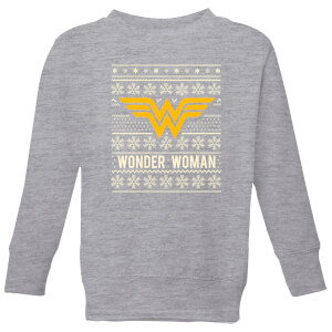 DC Wonder Woman Kids' Christmas Sweatshirt - Grey from I Want One Of Those
