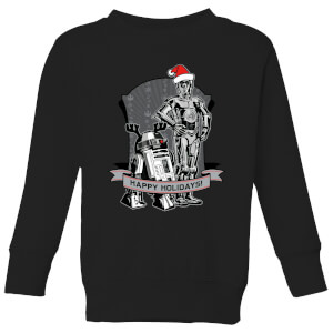 Star Wars Happy Holidays Droids Kids' Christmas Sweatshirt - Black