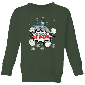 DC Batman Be Good Kids' Christmas Sweatshirt - Forest Green