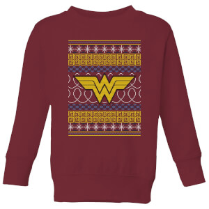 DC Wonder Woman Knit Kids' Christmas Sweatshirt - Burgundy