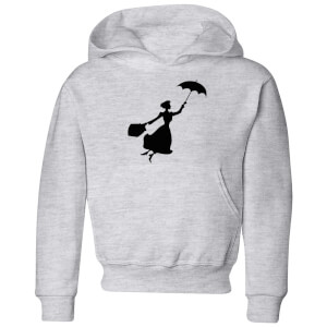 Mary Poppins Flying Silhouette Kids' Christmas Hoodie - Grey