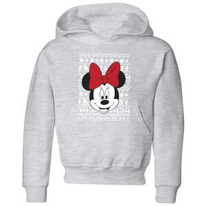 Felpa con cappuccio Disney Minnie Face Christmas - Grigio - Bambini