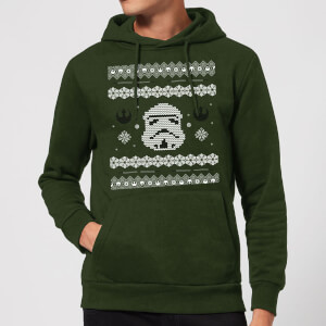 Star Wars Stormtrooper Knit Christmas Hoodie - Forest Green
