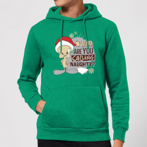 Looney Tunes Who Are You Calling Naughty Christmas Hoodie - Kelly Green
