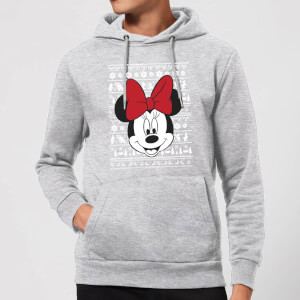 Disney Minnie Face Christmas Hoodie - Grey