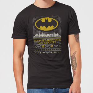 DC Seasons Greetings From Gotham Men's Christmas T-Shirt - Black