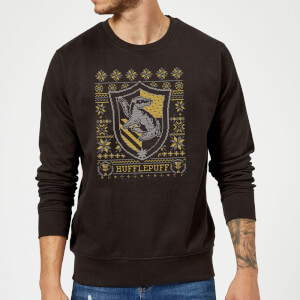 Harry Potter Hufflepuff Crest Christmas Sweater - Black