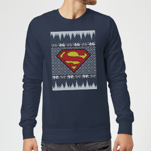 DC Superman Knit Christmas Sweatshirt - Navy