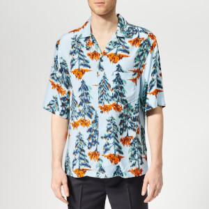 Acne Studios Men's Simon Pine Print Camp Collar Shirt - Pale Blue/Orange