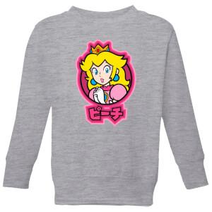 Nintendo Super Mario Peach Kanji Kid's Sweatshirt - Grey