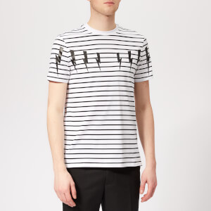 Neil Barrett Men's Bolt Wings Striped T-Shirt - White/Black