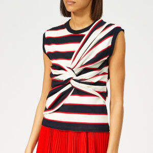 MSGM Women's Sleeveless Striped Jersey Top - White