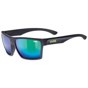 Uvex LGL 29 Mirror Lifestyle Glasses - Black Matte/Green