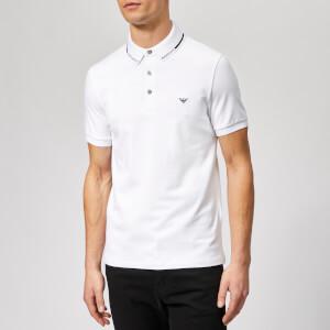 Emporio Armani Men's Collar Logo Polo Shirt - Bianco Ottico