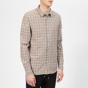 Folk Men's Storm Shirt - Ecru Plum Multicheck